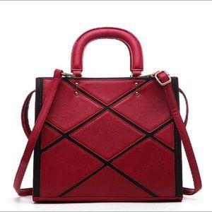 Pink Haley trendy contrasting patchwork satchel
